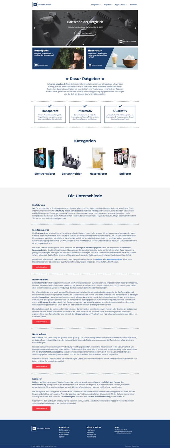 Rasur Ratgeber - Website